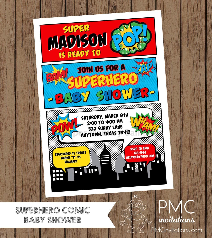 Custom Printed Superhero Comic Baby Shower Invitations 1.00