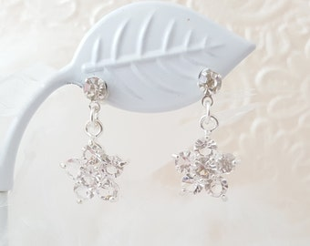 Flower Earrings Dangle - Clear Crystal Earrings Bridesmaid - Teenage Girl Earrings - Free Gift With Purchase - Floral Prom Earrings E1467