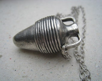 Oxidized Fine Silver Turkish Vessel Pendant on Sterling Silver Chain - Vessel Necklace - Archaeology