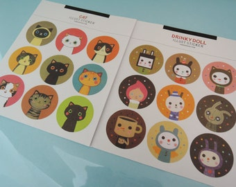 Stickers - 2 Sheets Korean Sticker Illust Sticker-Cat Waterproof Seal Label Round Label Scrapbook DIY