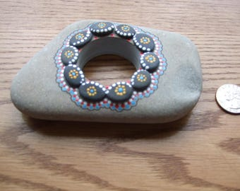 Limestone/basalt rockart tea candle holder.