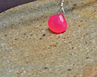 Gemstone Earring Pendant Charm; Chalcedony Drop Dangle Interchangeable Earrings in Sterling Silver; Hot Pink dangle; Workplace Jewelry