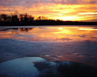 Landscape Photography 8x10 Sunset Serendipity Primordial Nature Print of the Dreamkeeper Pond, Fire and Ice