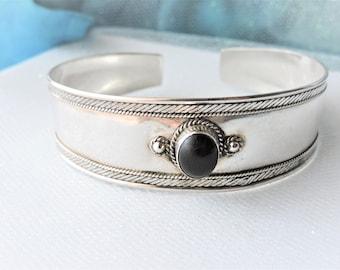 Black Stone Sterling Silver Cuff Bracelet