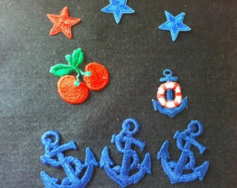 Vintage Patches Cherry Nautical Anchor Stars