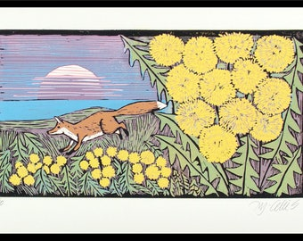 linocut, Fox, Dandelions, fireworks, seascape, sunset, sunrise, beach scene, landscape, nature, summer, pastel, printmaking, home interior