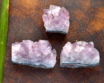 3 Pcs Natural Raw Amethyst Cluster Druzy Rough Gemstone,Healing Amethyst Crystal Rough,58x35x15mm,694Cts#3819