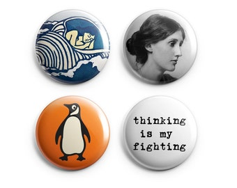 "4 Virginia Woolf buttons - Woolf magnets - Set of 4 (Four) 1.25"", Woolf quotes, stocking stuffers, literary pins, book lovers (B007)"