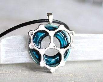 water molecule necklace, blue, water necklace, science jewelry, chemistry necklace, scientist necklace, biology jewelry, unique gift