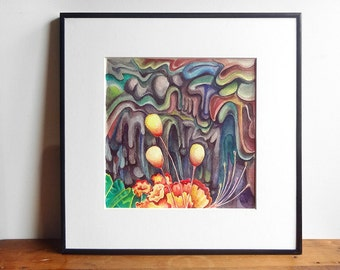 surreal painting, flower watercolor, small original artwork, colorful home decor