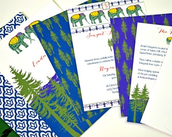 Indian Nature Invitations - India-Mountain Wedding - Woodland Invitations/India/Indian Invitations, Mountain Wedding, Nature Wedding, Rustic