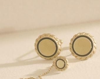 Gold & Black Cufflinks Tie Tack Set, Vintage Cufflinks and Tie Tack, Men's cuff links and matching Tie Tack, Vintage  Men's  Jewelry