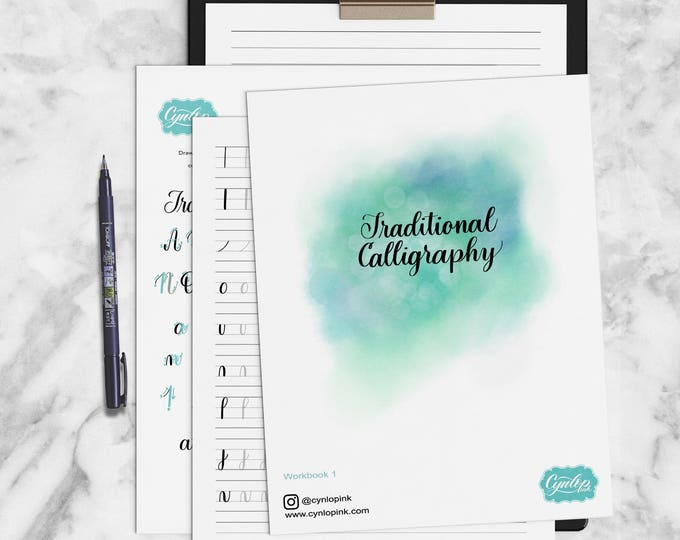 Featured listing image: Traditional Calligraphy Workbook Printable PDF