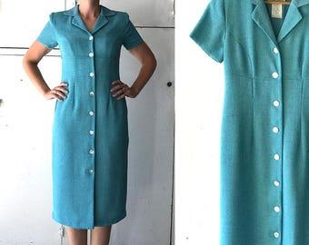 80s blue button down dress | vintage office dress | 80s sheath dress