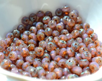 Dusty Pink Picasso Faceted 7x5m Rondelle Czech Glass Beads 50