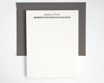 PARSONS Letterpress Stationery Set - Personalized Flat Note Cards - Classic Style - Greenhouse
