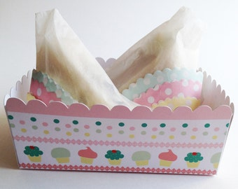 Set of  6 SNACK food trays. Birthday party. Theme Cupcake. Candy bar. Sweet table. Sweet buffet