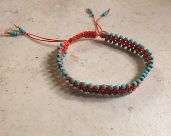 Macrame Jewelry - Orange Bracelet - Turquoise Seed Beads - Adjustable Jewellery - Fashion - Trendy - Beaded - Waxed Linen Cord