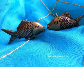 Something Fishy Brass Drawer Pulls Pair