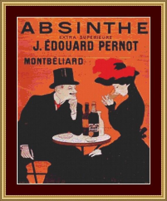 Absinthe Cross Stitch Pattern /Digital PDF Files /Instant downloadable