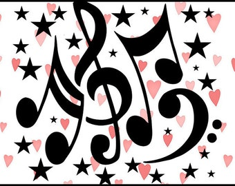 Music Notes and Stars-SVG cut file for Cricut or other cutting machines.