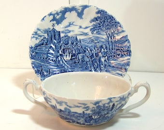 Double Handle Cream Soup Bowl and Saucer Myott Royal Mail English Transferware Blue and White