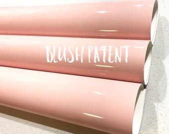 Blush Patent Leather A4 Sheet Glossy Smooth PU Leatherette Pastel Blush Pink Patent