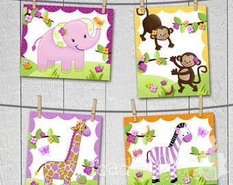 Set of 4 Pretty Purple Girly Jungle Animals Girls Bedroom Baby Nursery 8 x 10 Wall ART PRINTS