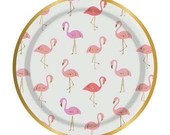 Flamingo Paper Plate Gold Foil Details 7 inches set of 8