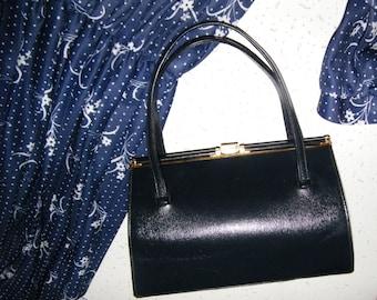 Vintage KELLY bag  Evening clutch purse Blue Leather handBag Vintage 1950s  leather  bag  RETRO bag small handbag gift