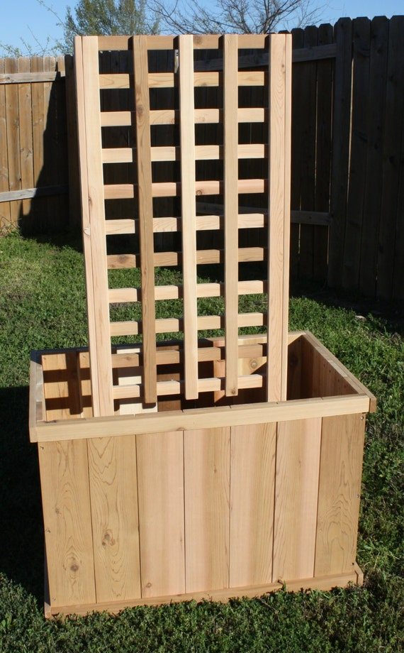 Brand New All Cedar Garden Planter Box With Trellis 3 Feet By