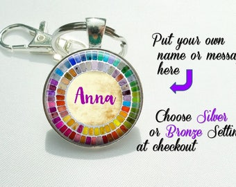 Watercolor Palette Gift for Artist keychain - Personalized name Palette keyring  Custom Name gift art student - gift for watercolor artist