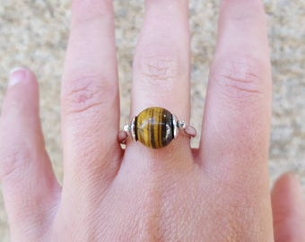 Ring 925 Sterling Silver Sphere and Tiger eye size 53