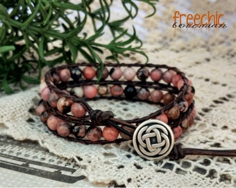 Rhodonite Stone Wrap Bracelet, Pink Leather Wrap Bracelet, Stone Wrap Bracelet, Boho Bracelet, Beaded Wrap Bracelet, Biker Jewelry