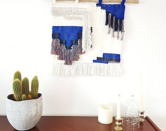 Blue, beige and white wall weaving / wall hanging