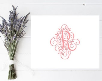 Fancy Customized Initial Stationery - Fancy Personalized Stationary - Letter R Stationery - Flourish - Choose Your Initial
