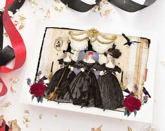 Halloween witch card, with Marie Antoinette, the 3 witches, Halloween holiday card, blank card
