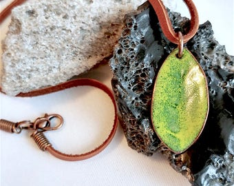Green Enameled Leaf Pendant on a Leather Cord
