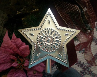 Christmas Star Tree Topper Metal Tin Punched Star 9 Inch Country Primitive Hand Cut By Larry West