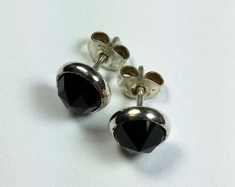 Black spinel 8 mm studs in sterling silver setting
