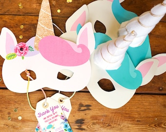 Unicorn Party Masks - Unicorn Party Favor - Unicorn Favors - Unicorn Masks - Instant Download and Edit at home with Adobe Reader