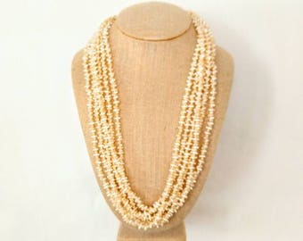MULTI STRAND Vintage Faux Seed Pearl Necklace-Wear Twisted or Not-6 Strands-Gold-Ivory/Cream/Off White-All Orders Only 99c Shipping!