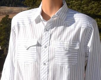 vintage 60s western shirt WRANGLER stripe pearl snaps 70s Large 17 33 cowboy rockstar