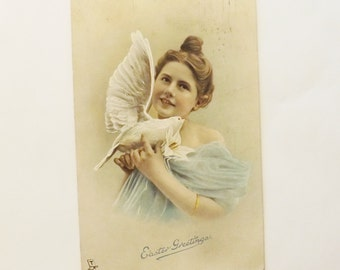Antique Tuck Edwardian Easter post card lady and dove