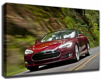 Tesla art etsy tesla model s canvasposter wall art pin up hd gallery wrap room decor home malvernweather Images
