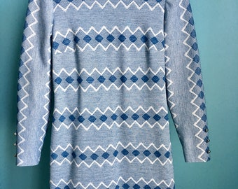 Vintage 60s geometric print blue long-sleeved Lord & Taylor L'Aiglon dress