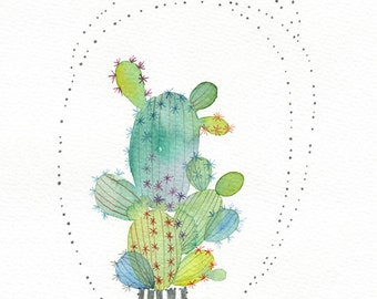 Green cactus original watercolor painting, Catus art, Cactus painting, Cactus lover, Botanical art, Original art, Cactus decor, Home decor
