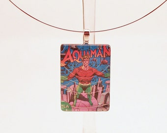 Aquaman Glass Tile Pendant Superhero Necklace with Two Chains