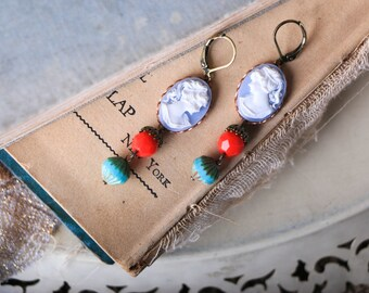 Anthropologie Style, Blue and White Cameo, Red and Aqua Czech Glass Earrings, Vintage Cameo Earrings, Bohemian Earrings