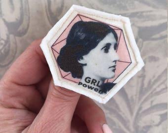 Virginia Woolf  fabric brooch portrait feminist jewelry handmade by Tablewear